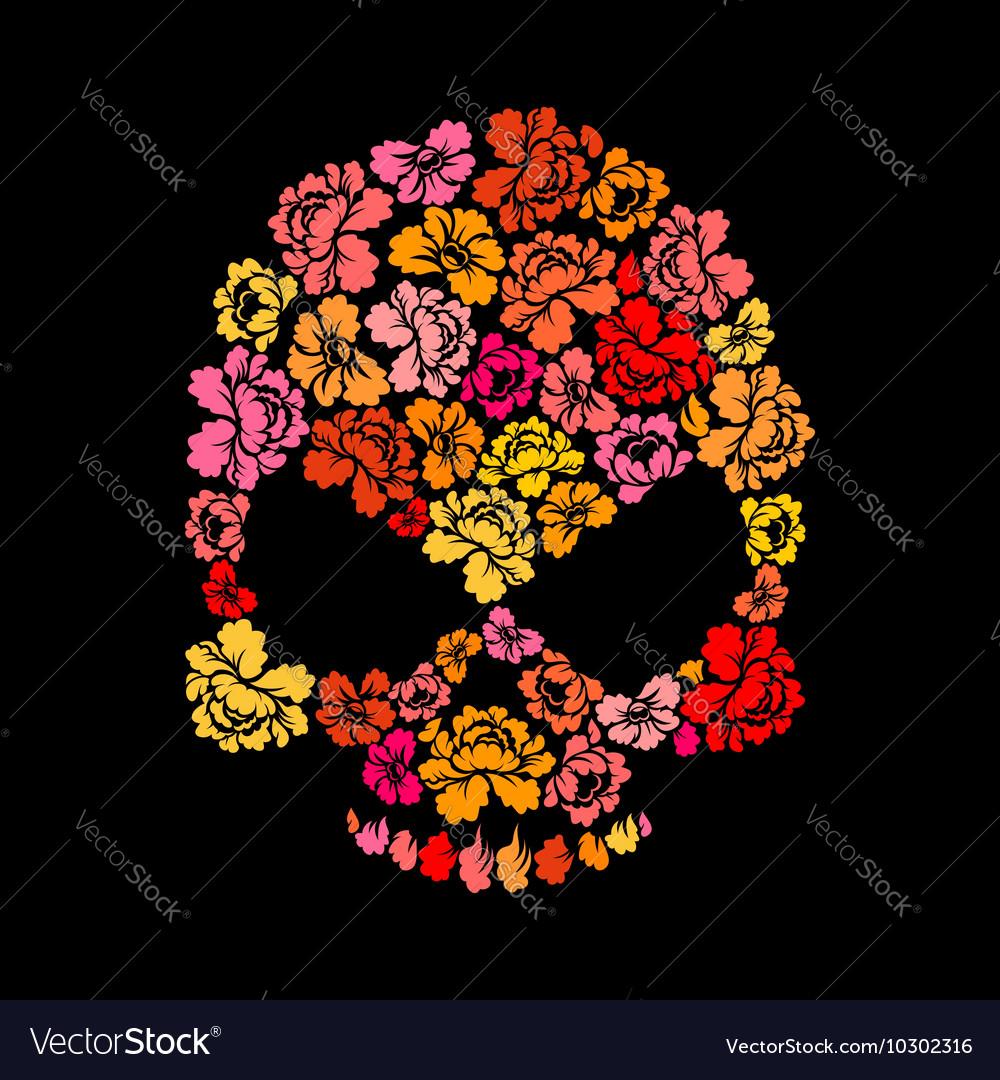 Rose skull on black background Skeleton Head of vector image
