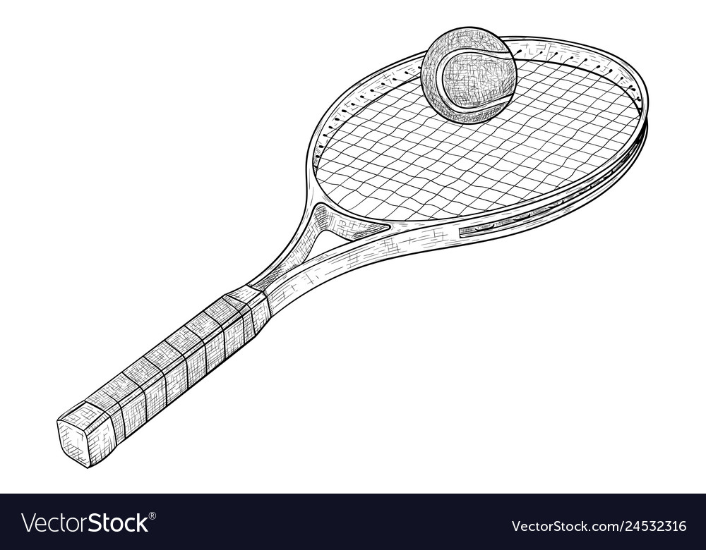 Tennis racket with a ball hand drawn sketch
