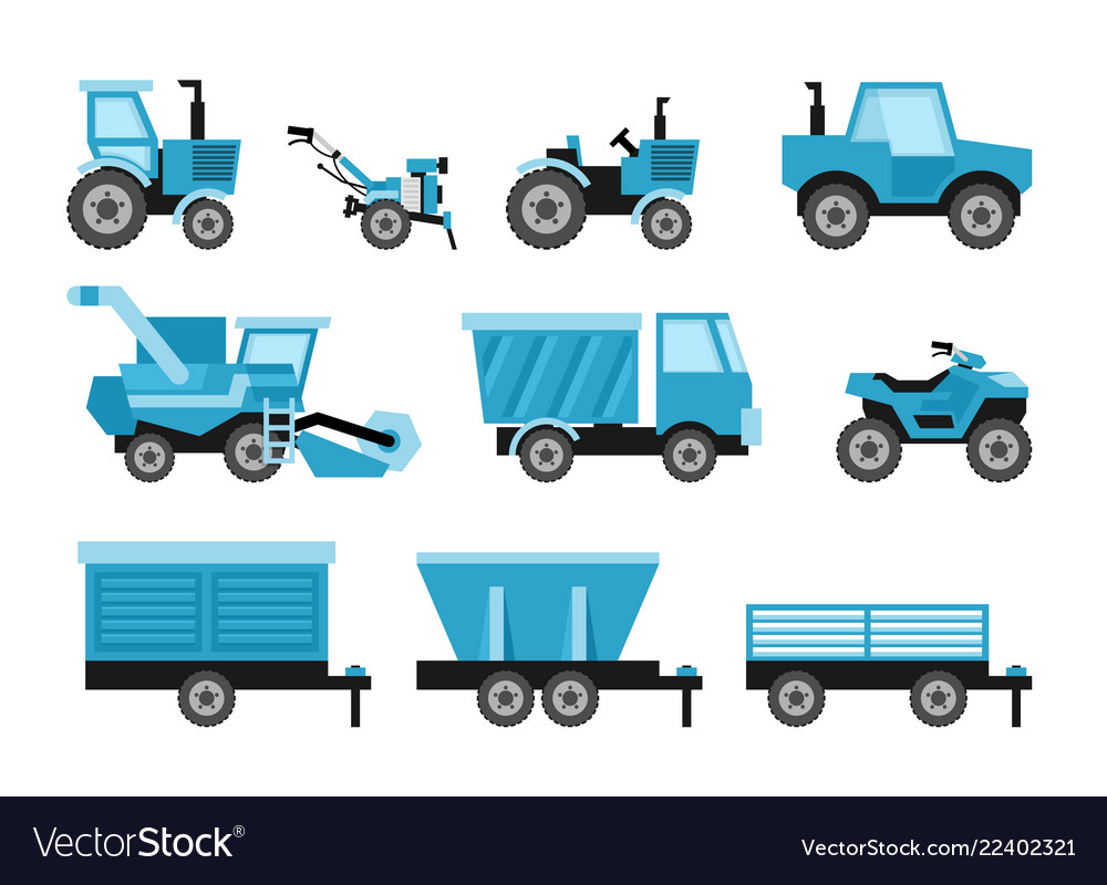 Agricultural harvesting vehicles set with tractor