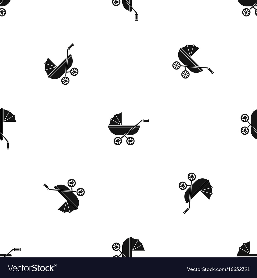 Baby carriage pattern seamless black vector image
