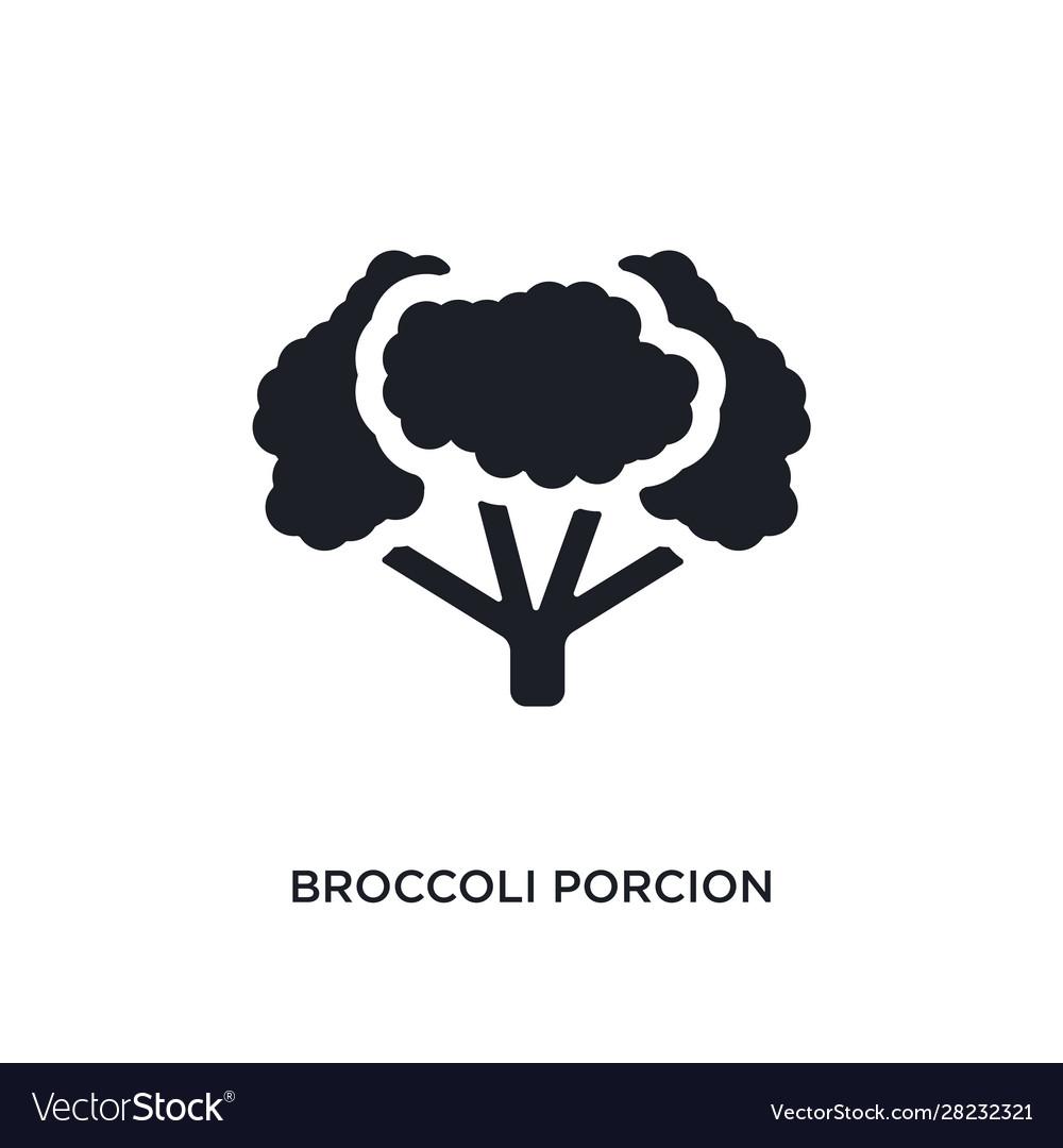 black broccoli porcion isolated icon simple vector image black broccoli porcion isolated icon simple vector image