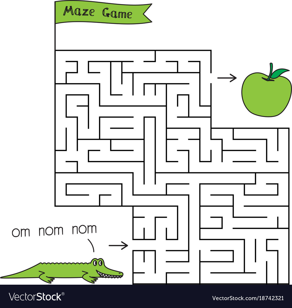 cartoon crocodile maze game royalty free vector image