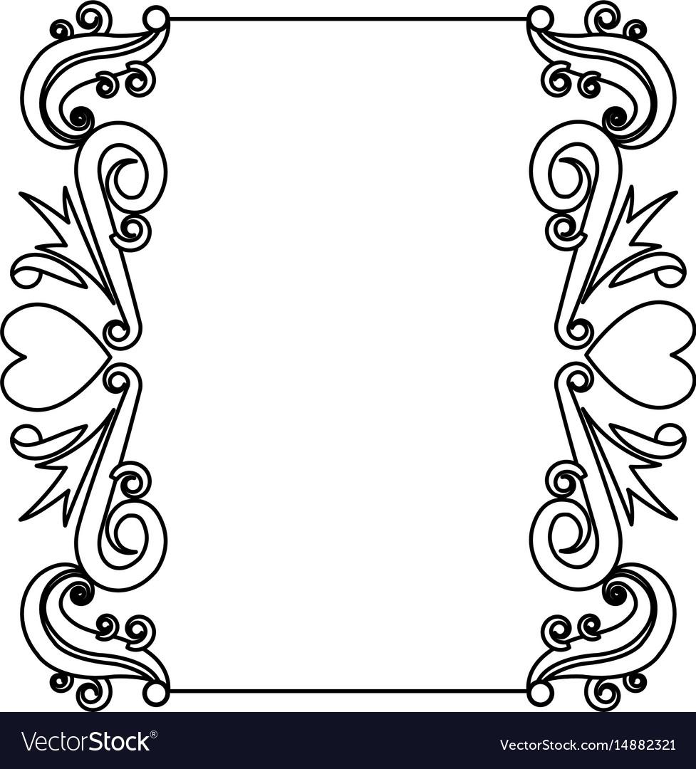 Decorative card romantic frame floral border cute Vector Image