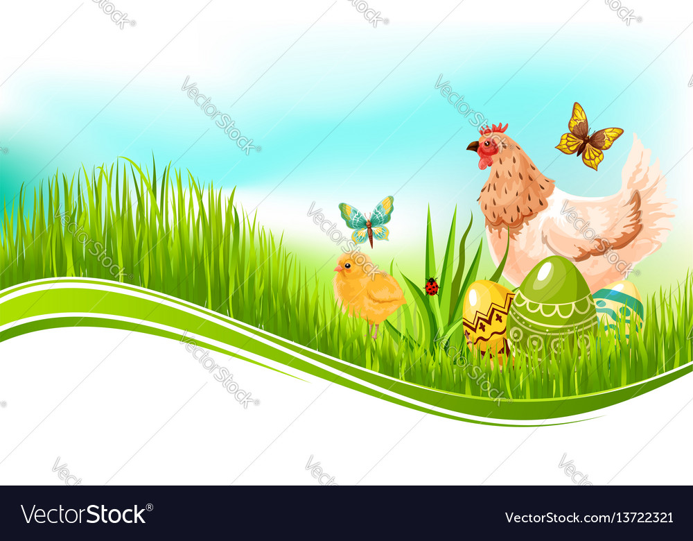 Easter template of paschal eggs and chicken