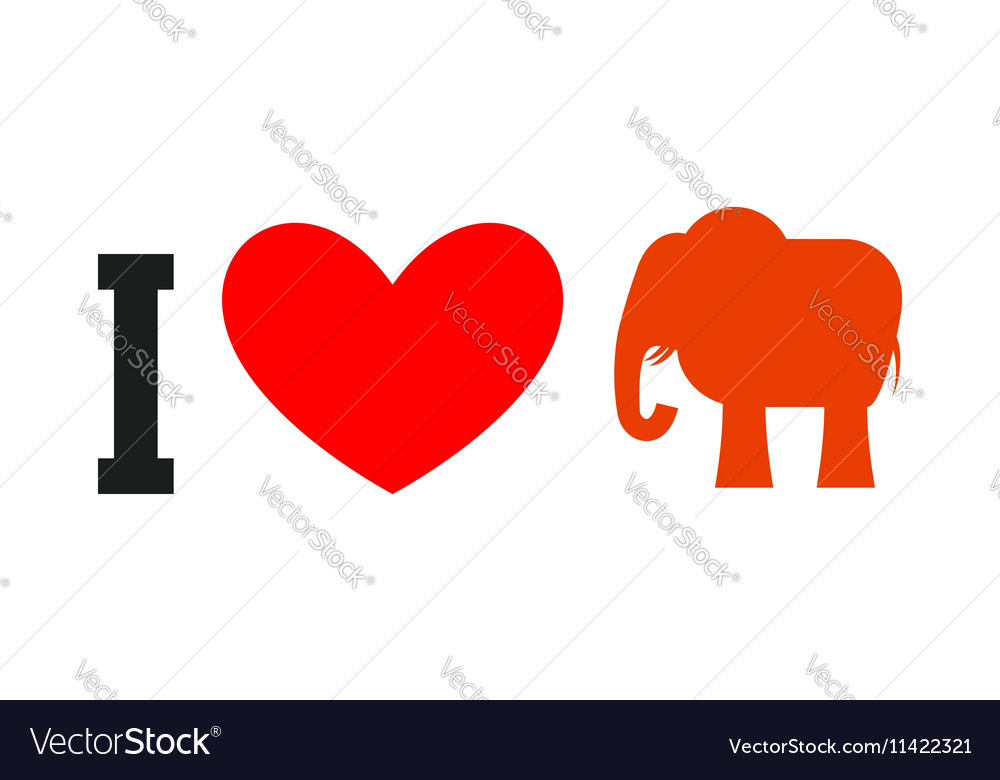 I Love Republican Symbol Of Elephant And Heart Vector Image