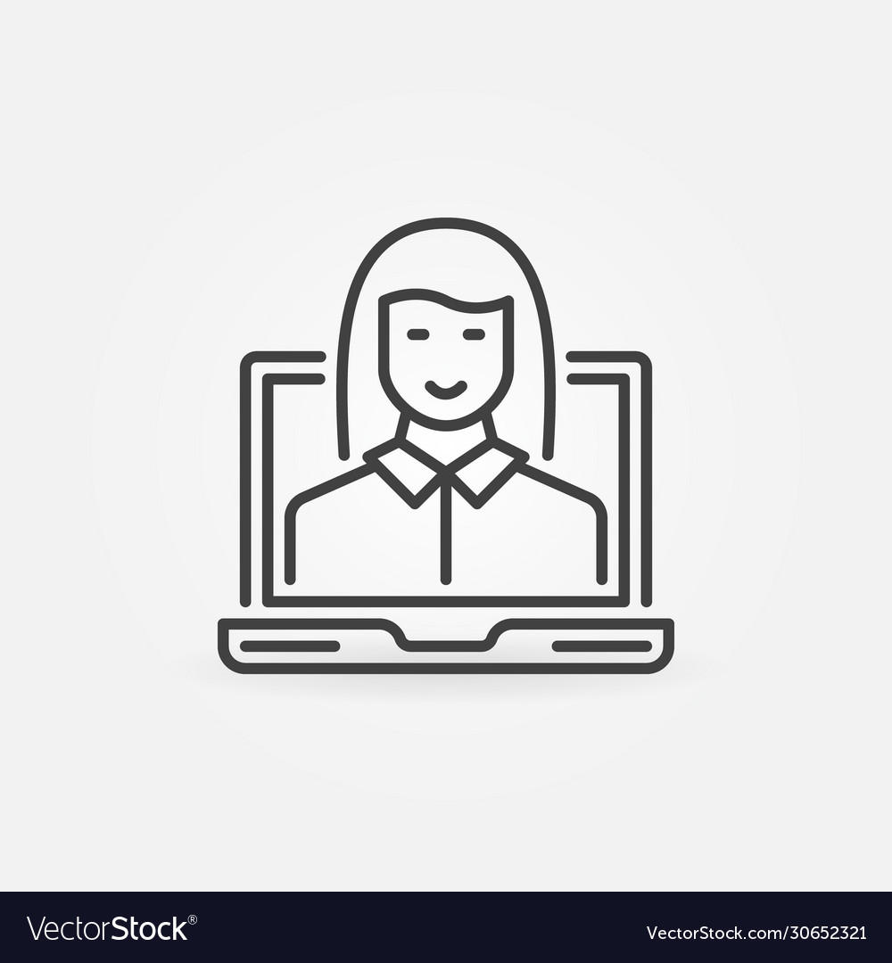 Laptop with woman linear icon female