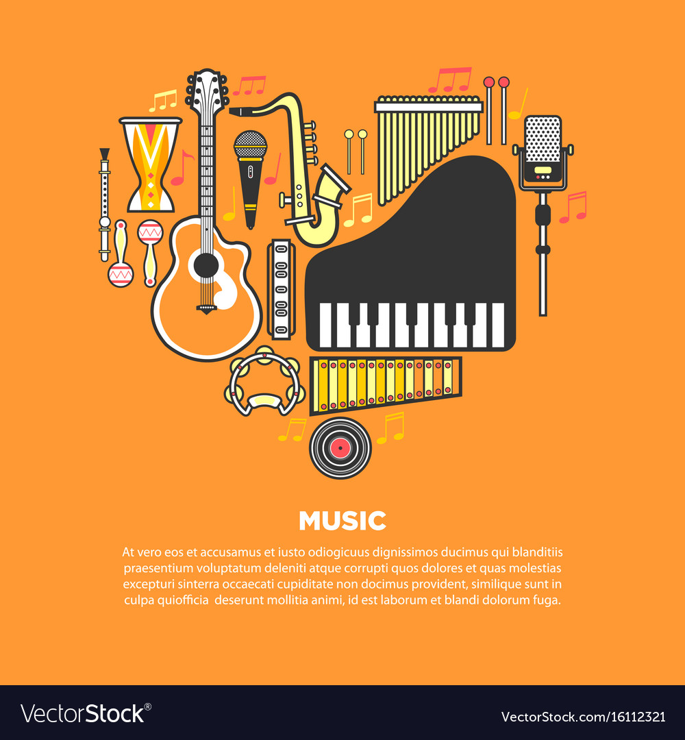 Musical instruments formed in heart isolated vector image