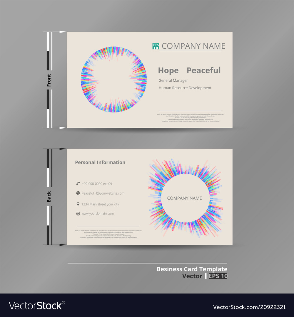 Name card of colorful stripe line pattern vector image