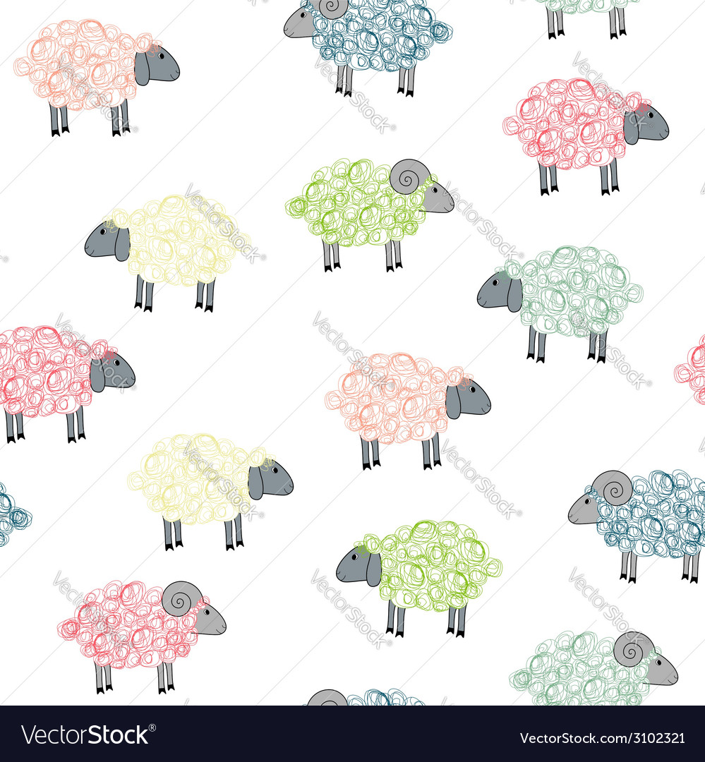 Seamless pattern with colored sheeps