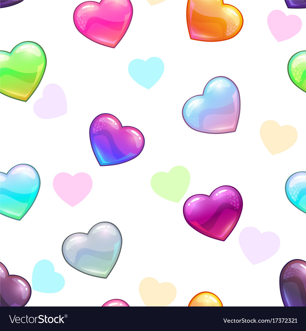 Seamless pattern with colorful glossy hearts