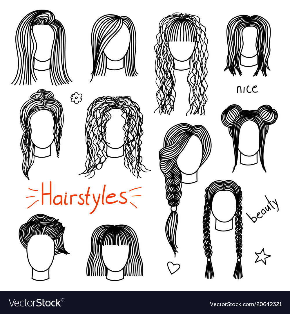 Set Of Hand Drawn Womens Hairstyles