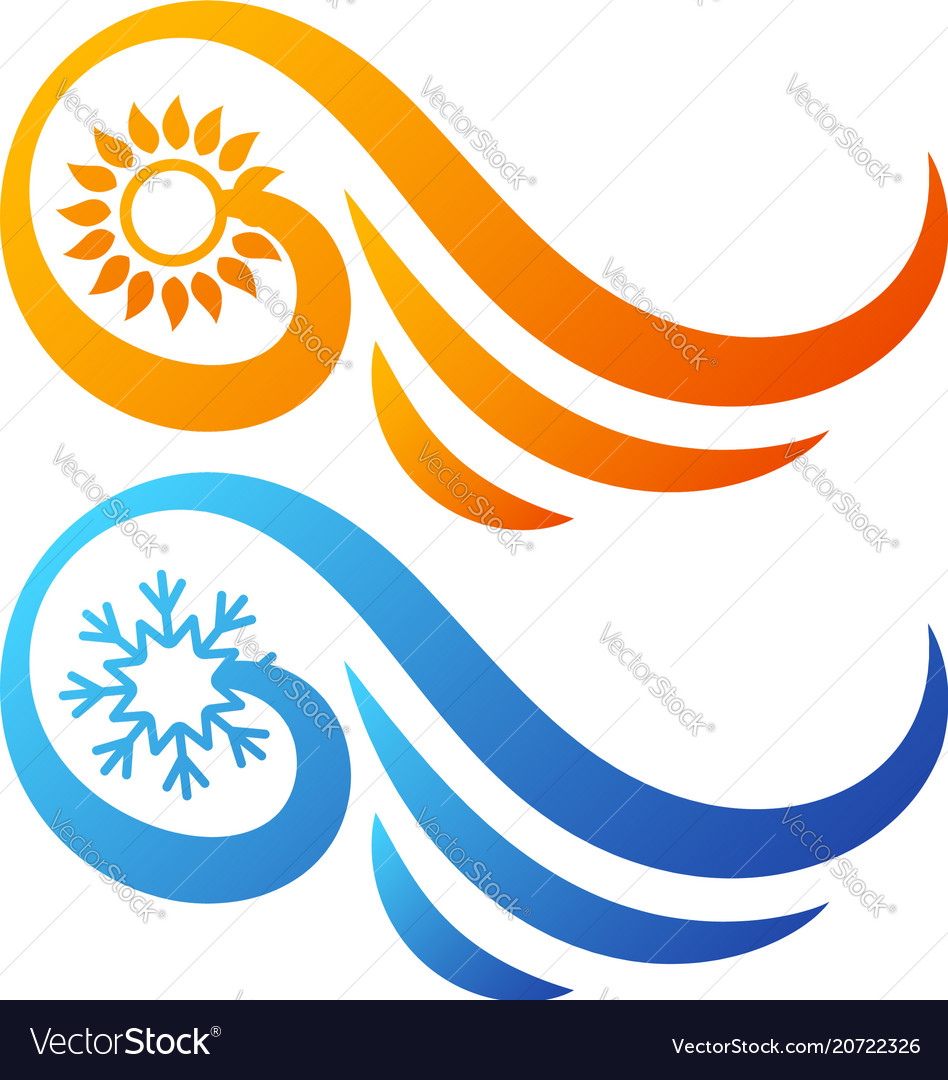 Air conditioning sun and snowflake abstract symbol