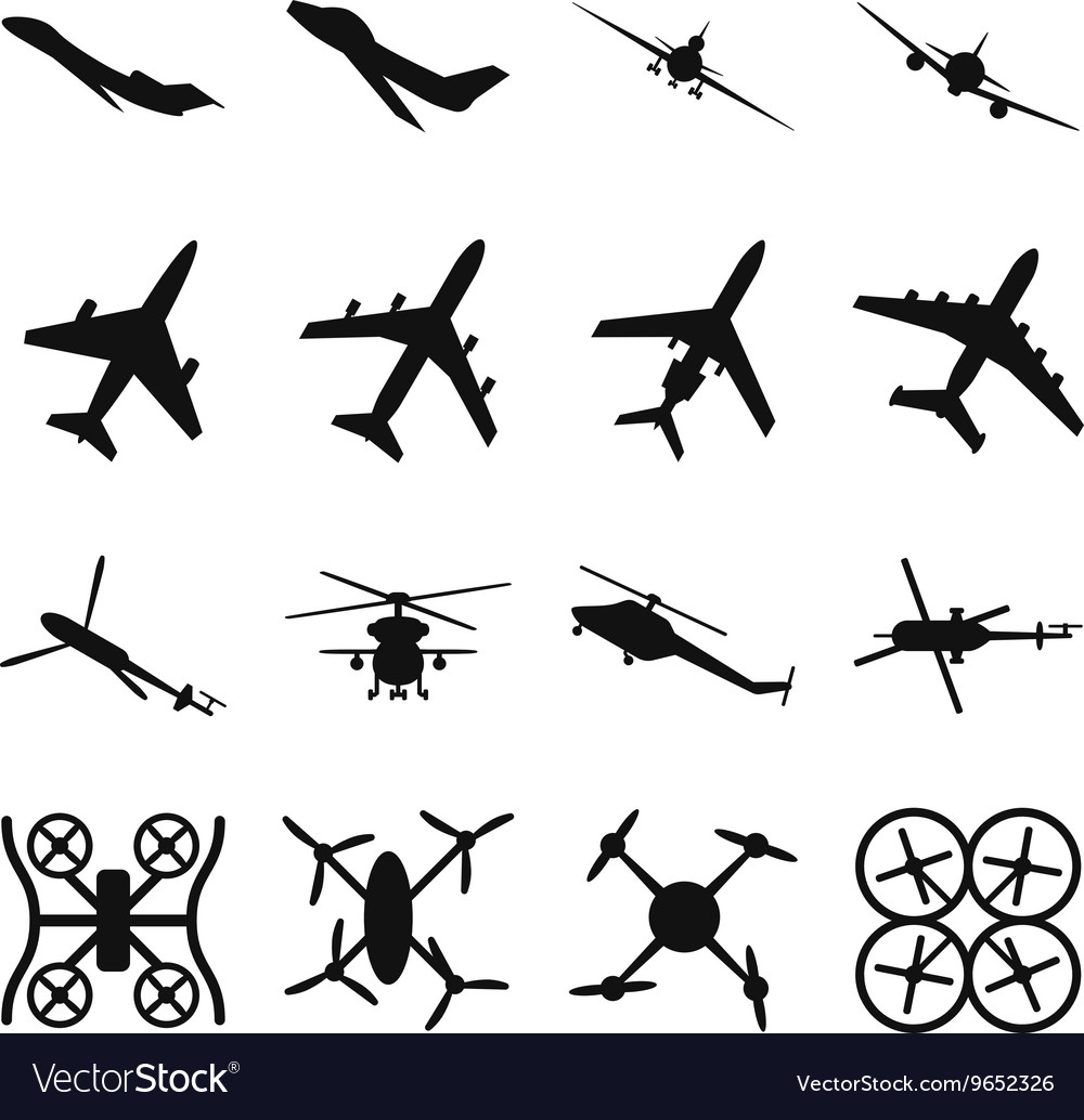 Aircrafts helicopters drones black icons vector image