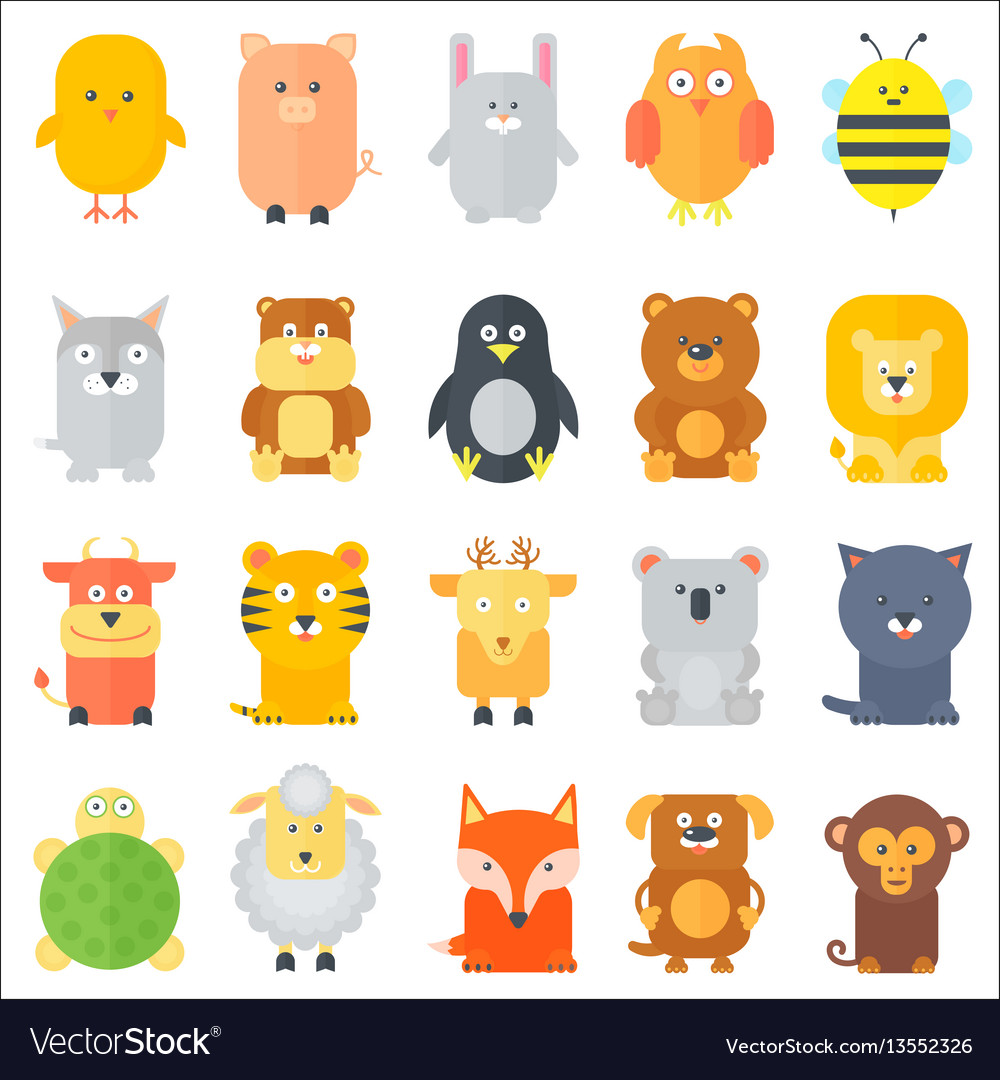 Animal icons collection flat animals set