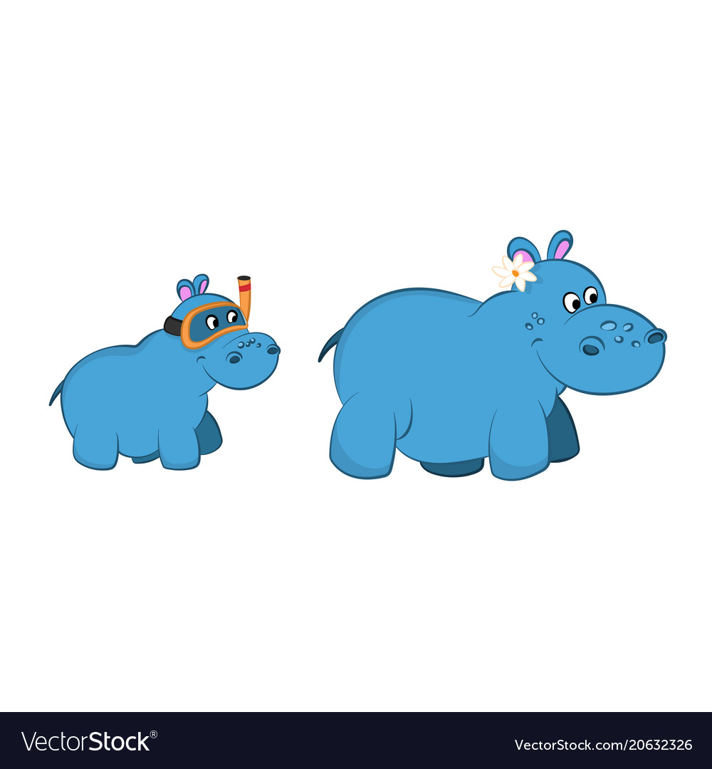 Animals of zoo hippo family in cartoon style