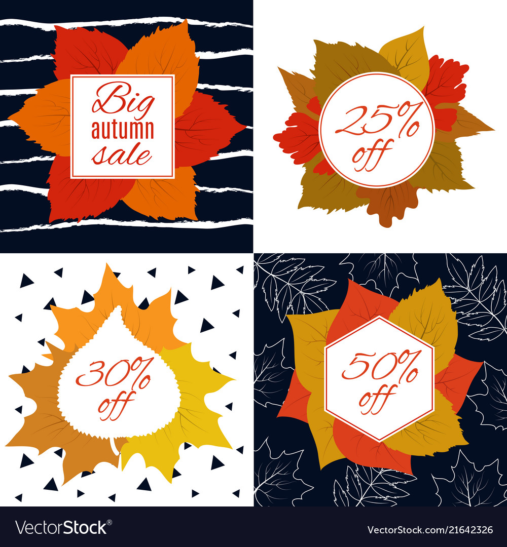Autumn sale fall leaves with discount