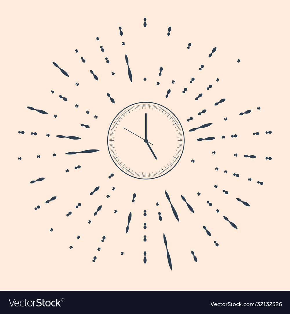 Black Clock Icon Isolated On Beige Background Vector Image