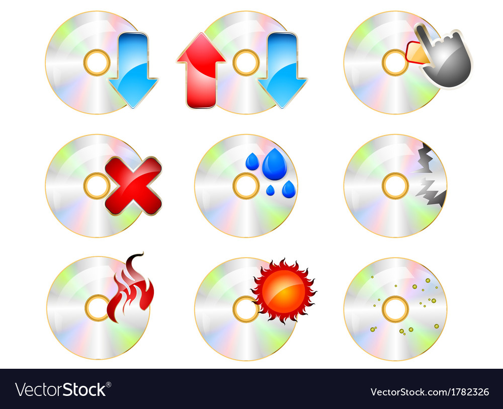 CD ROM Icon set on a white background