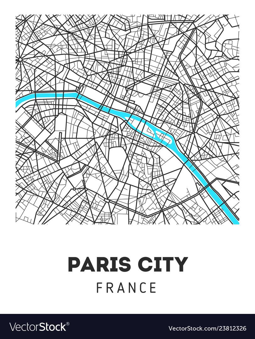 City map of paris city Royalty Free Vector Image