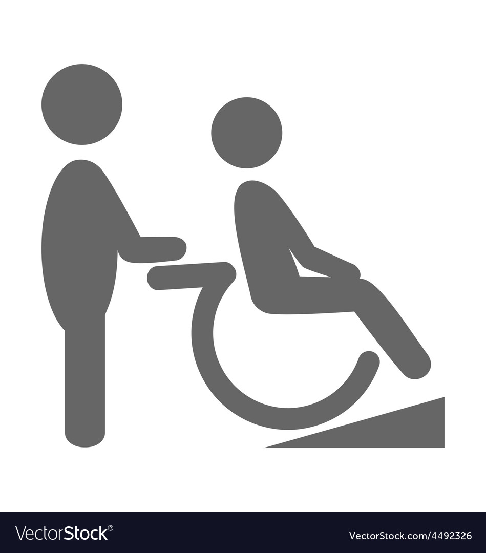Disability man with helpmate pictogram flat icon