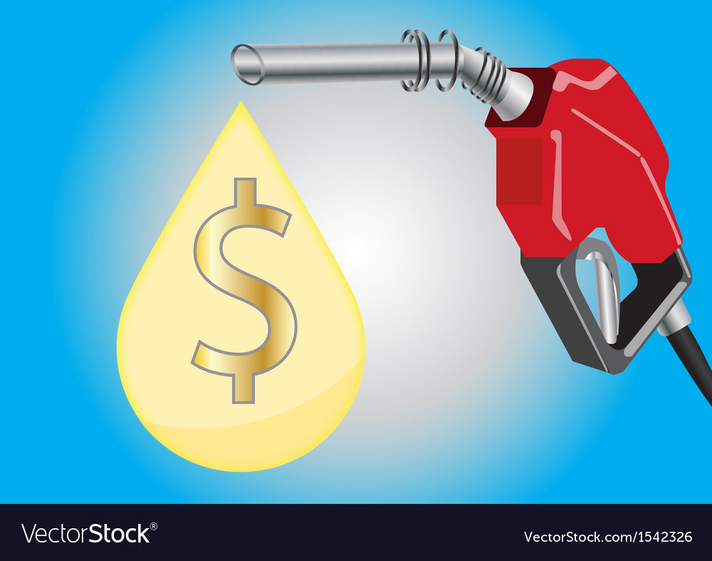 Fuel dispensers and oil drop with money symbol