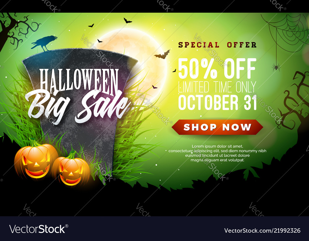 Halloween sale banner with