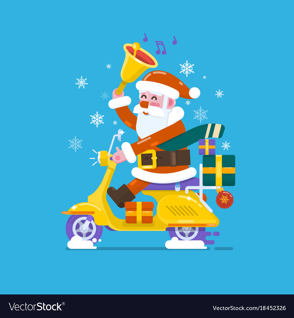 Happy smile santa claus riding scooter motorcycles