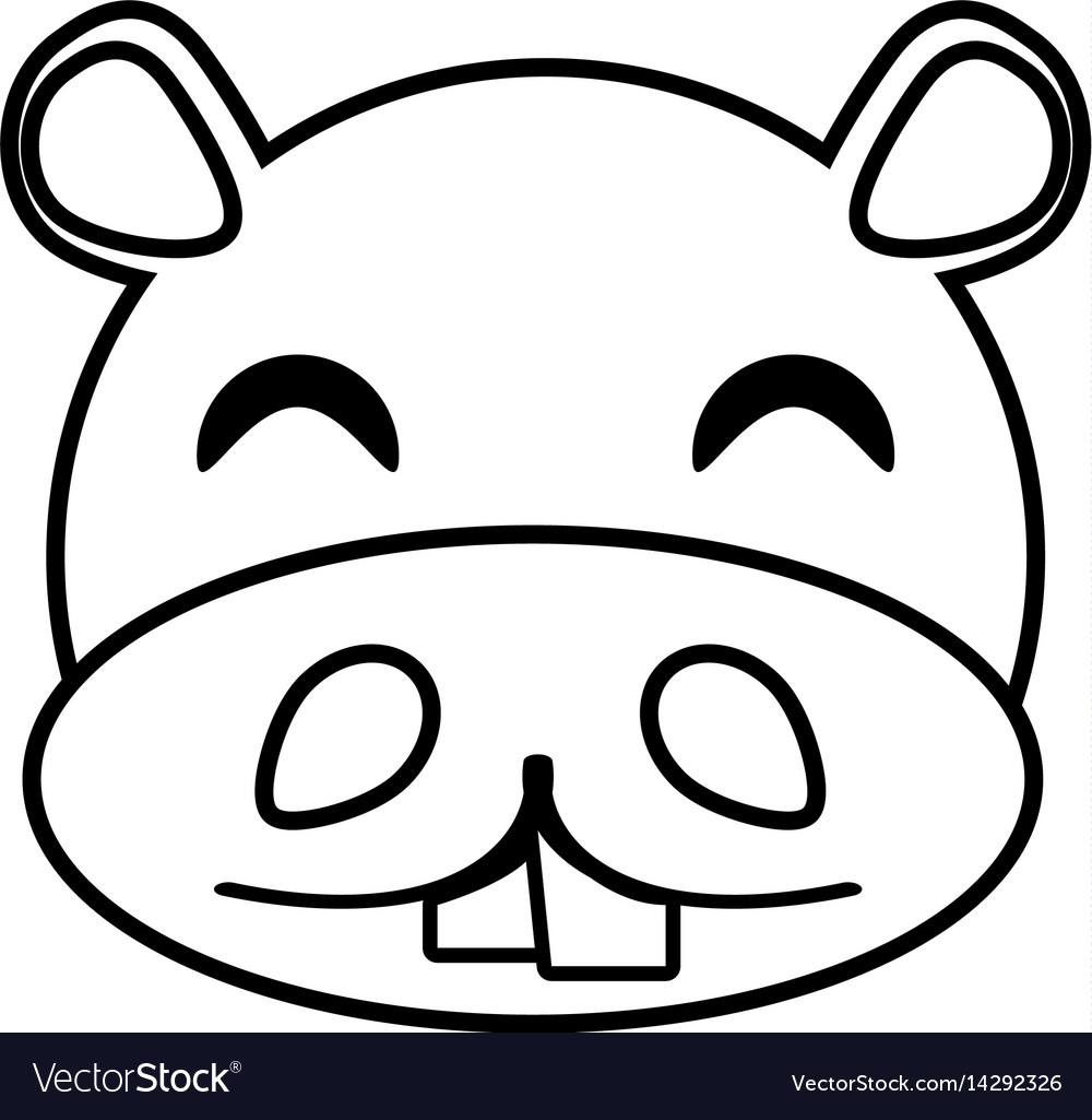 Hippo face animal outline