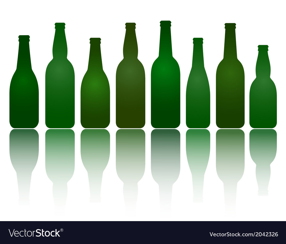 Isolated green beer bottles