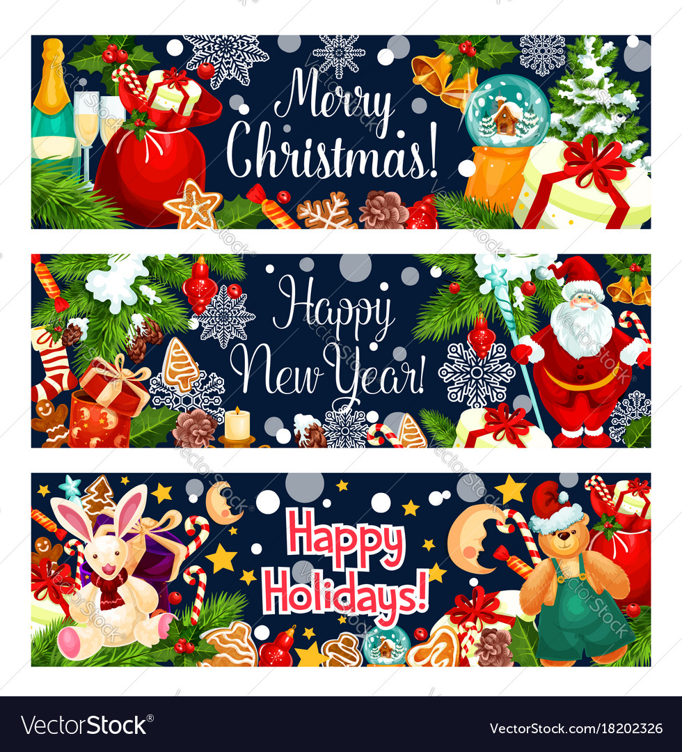 Merry christmas greeting santa gifts banner