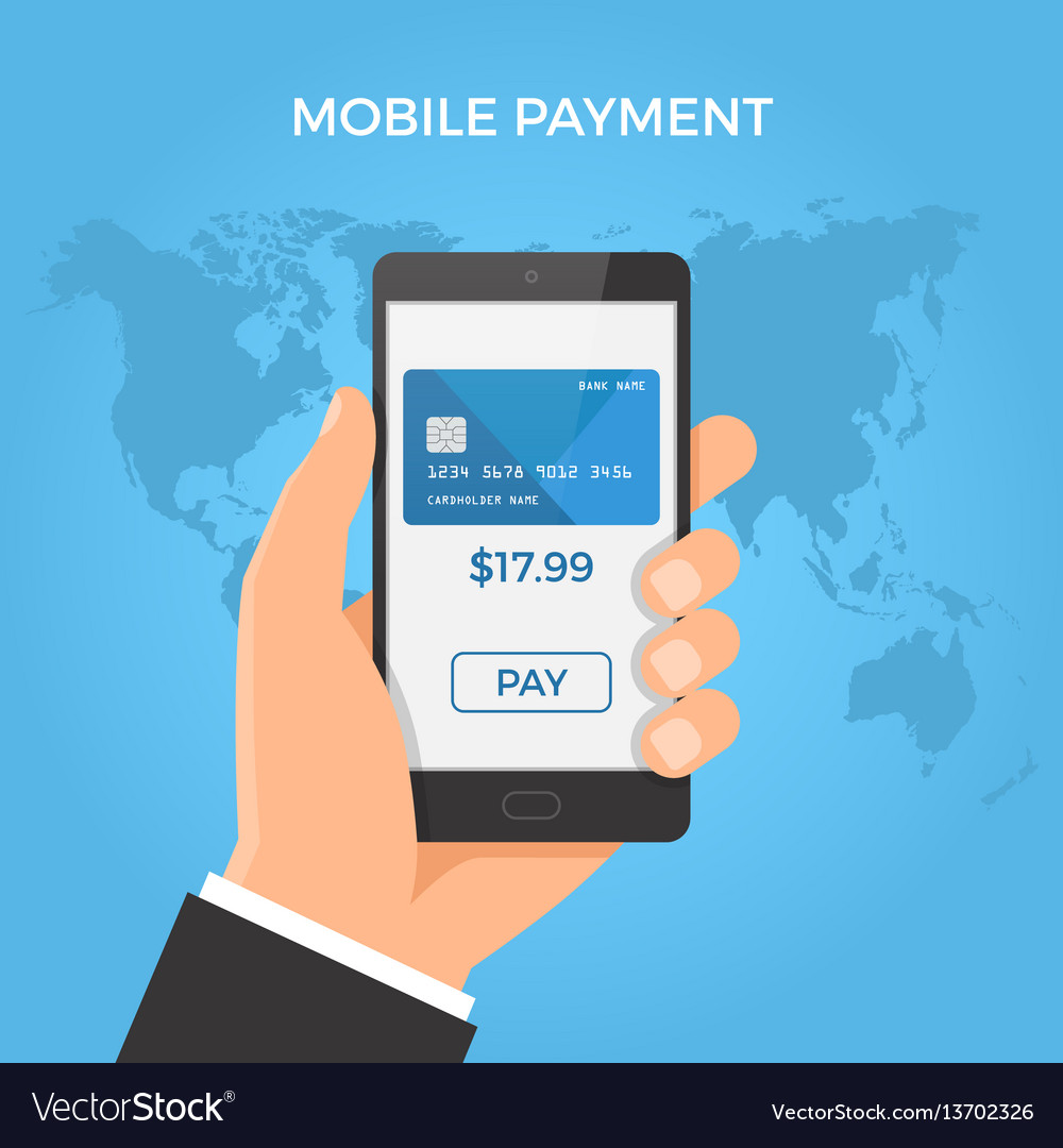 Mobile payment concept hand holding smartphone