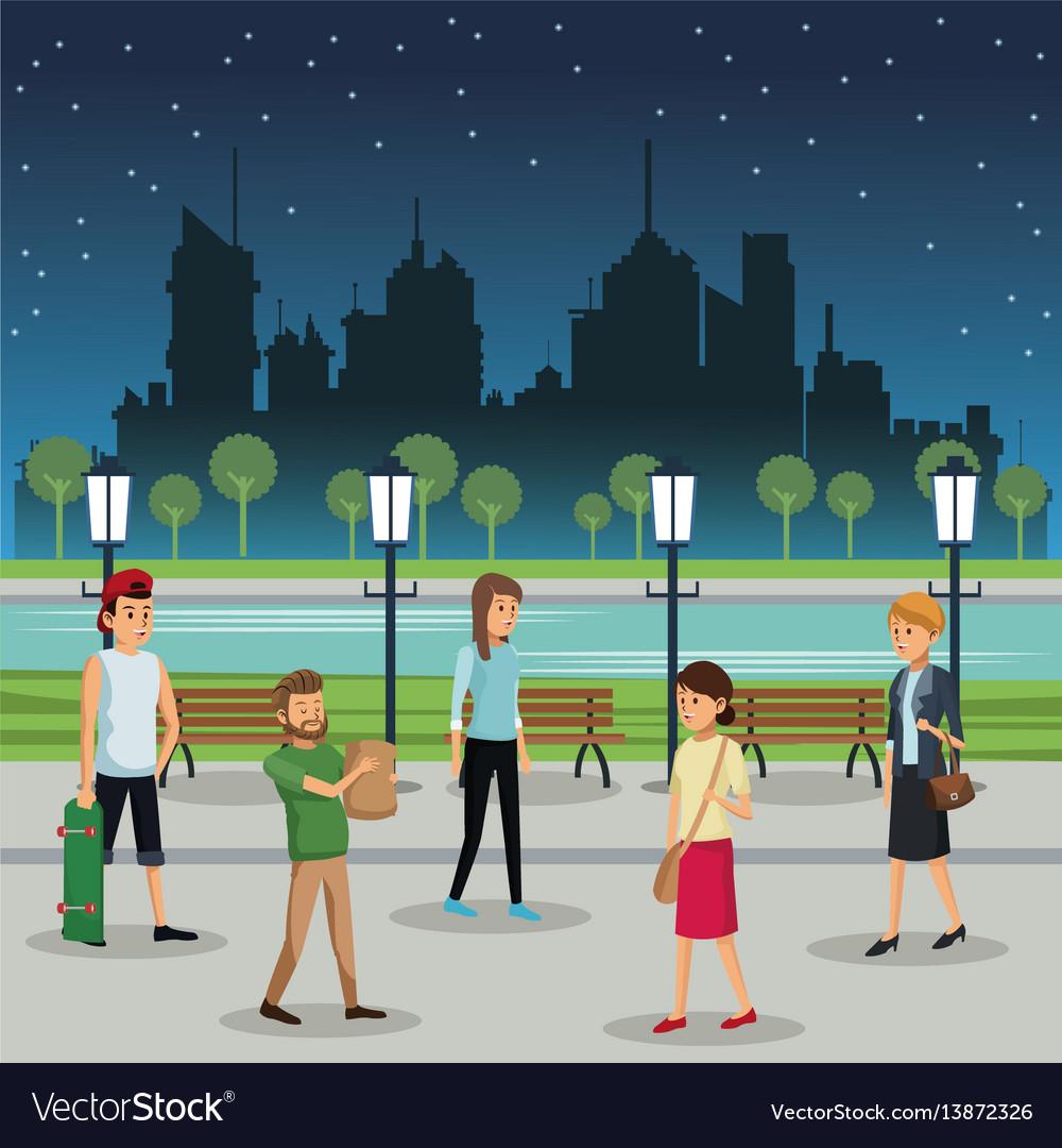 People walking night street urban background
