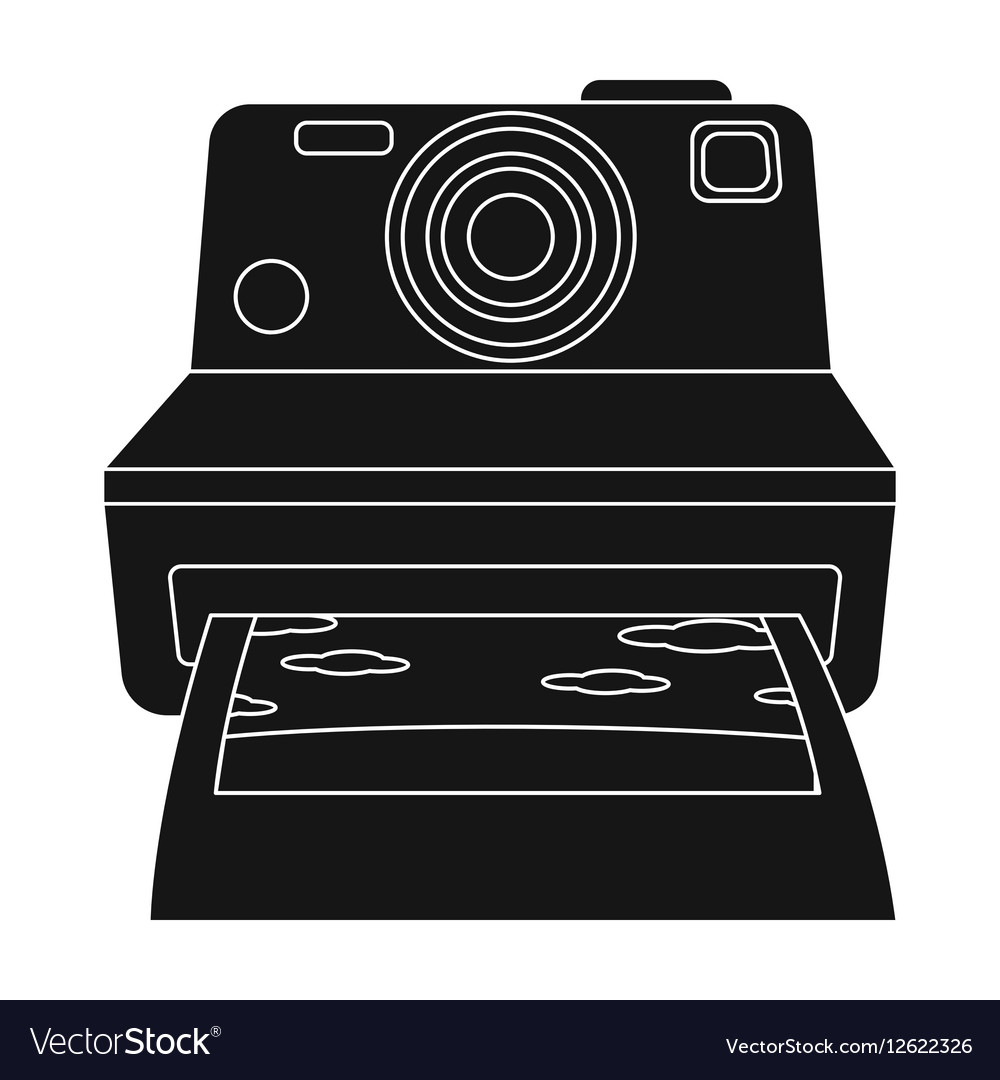 Retro photocamera icon in black style isolated on