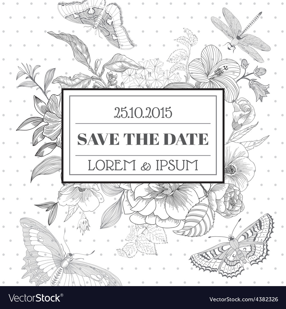 Save the Date - Floral Shabby Chic Card vector image