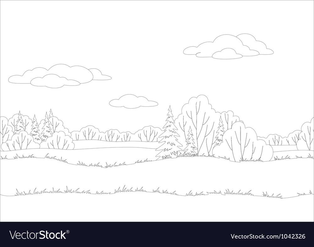 Seamless background woodland landscape contour