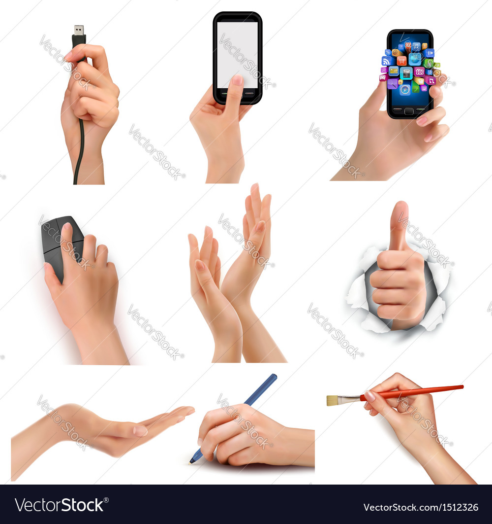 Set of hands holding different business objects