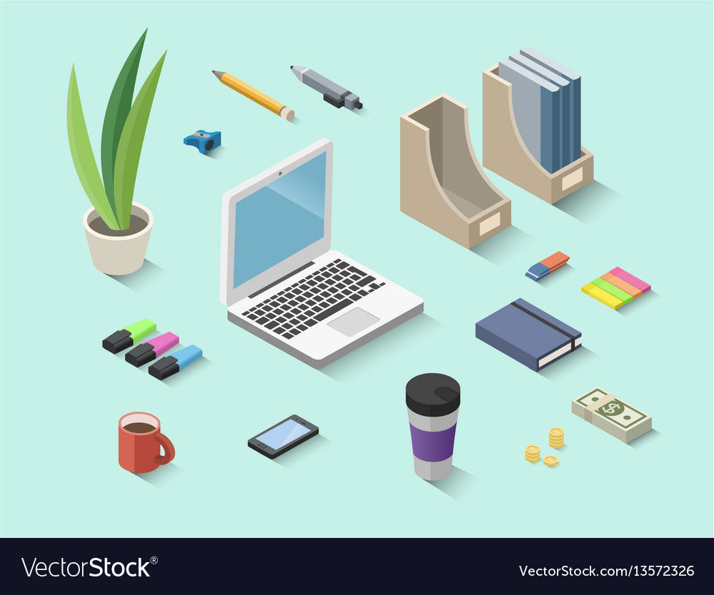 Set of isometric office items stationery icons