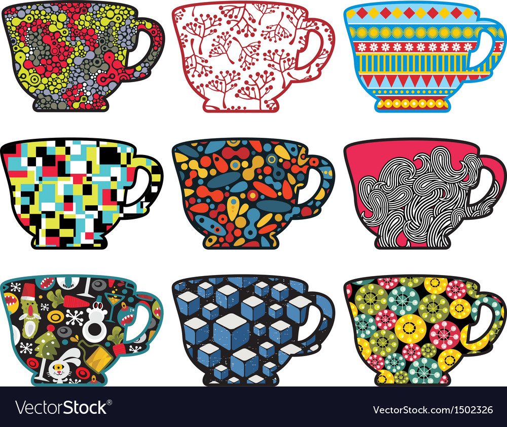 Set of tea cups with cool patterns