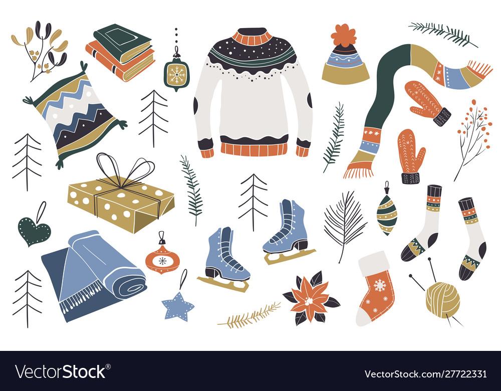 Christmas design elements scandinavian
