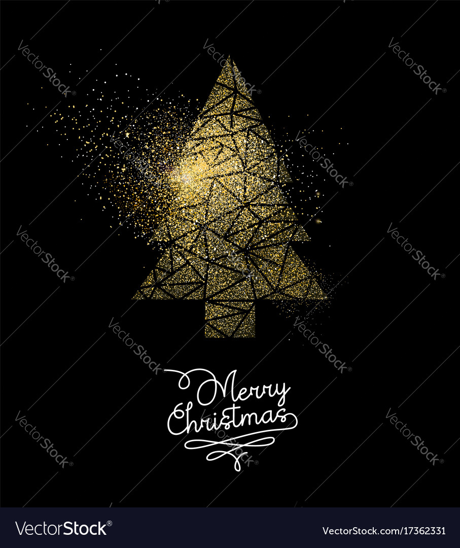 Christmas gold glitter pine tree decoration card