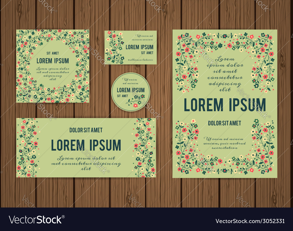 Corporate identity templates with border of vector image