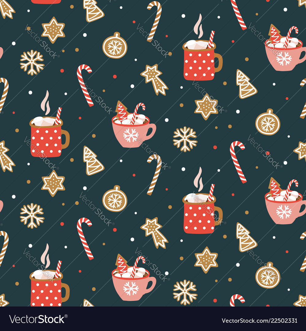 Cute hand drawn seamless pattern with cocoa