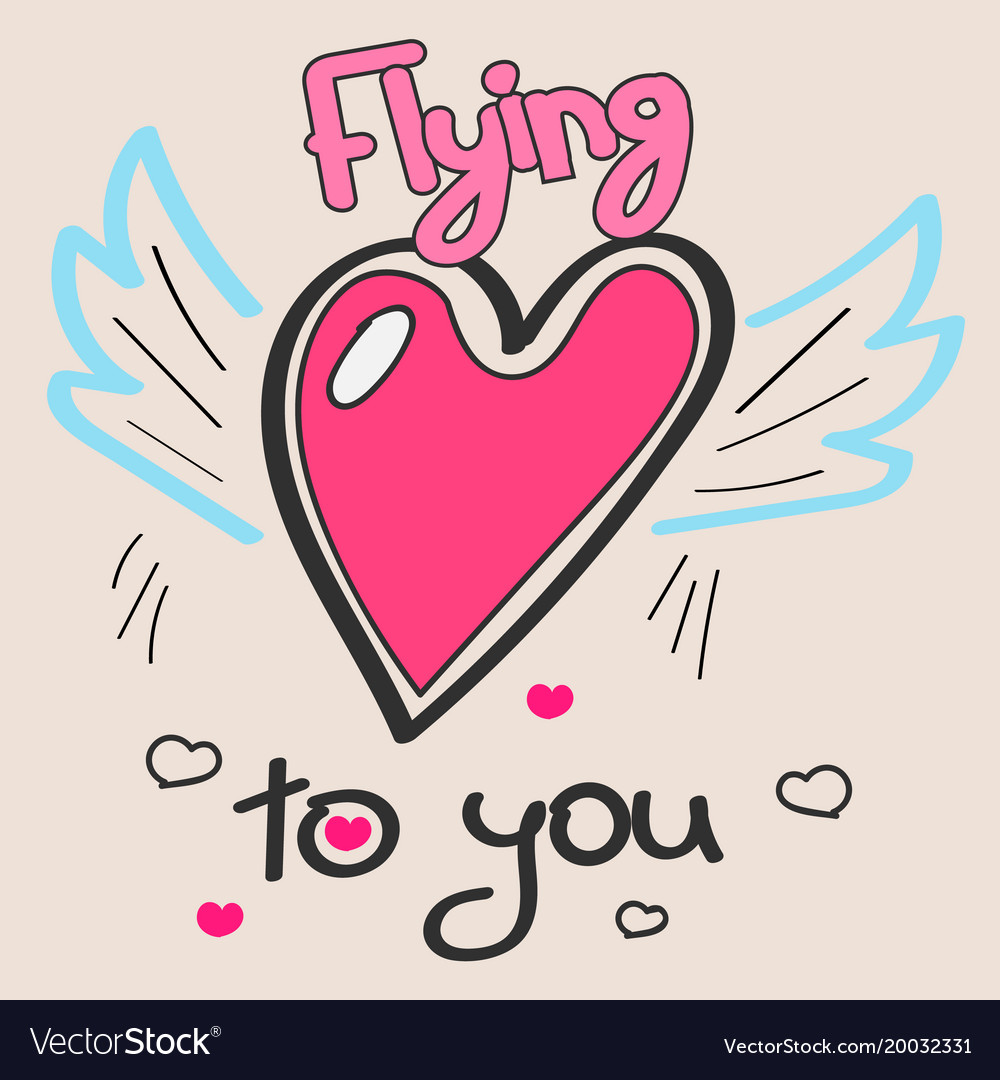 Doodle hearts with wings and text