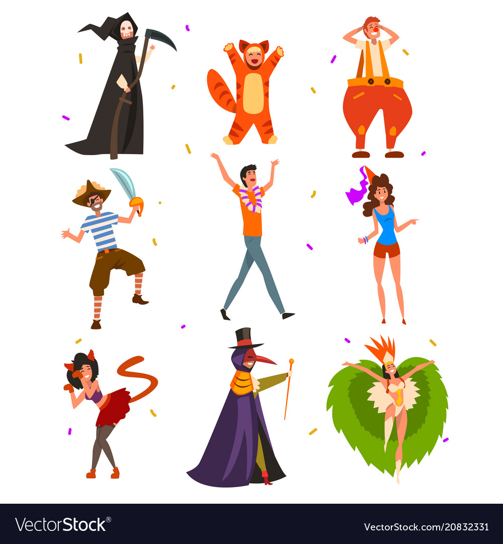 Flat set with people in bright carnival vector image