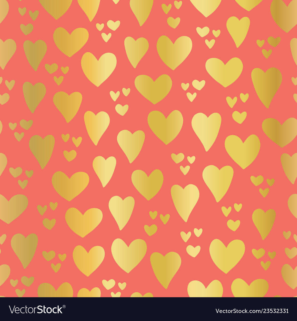 Gold foil hearts on coral seamless pattern