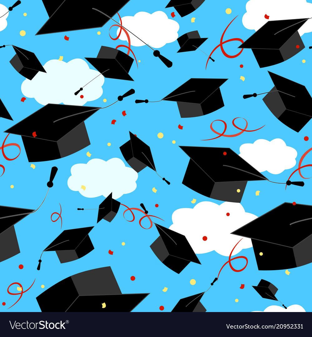 Graduation Caps In The Air Graduate Background Vector Image