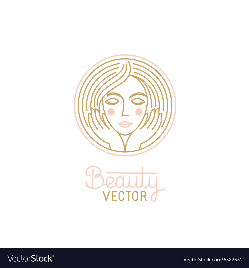 Logo design template in trendy linear style with