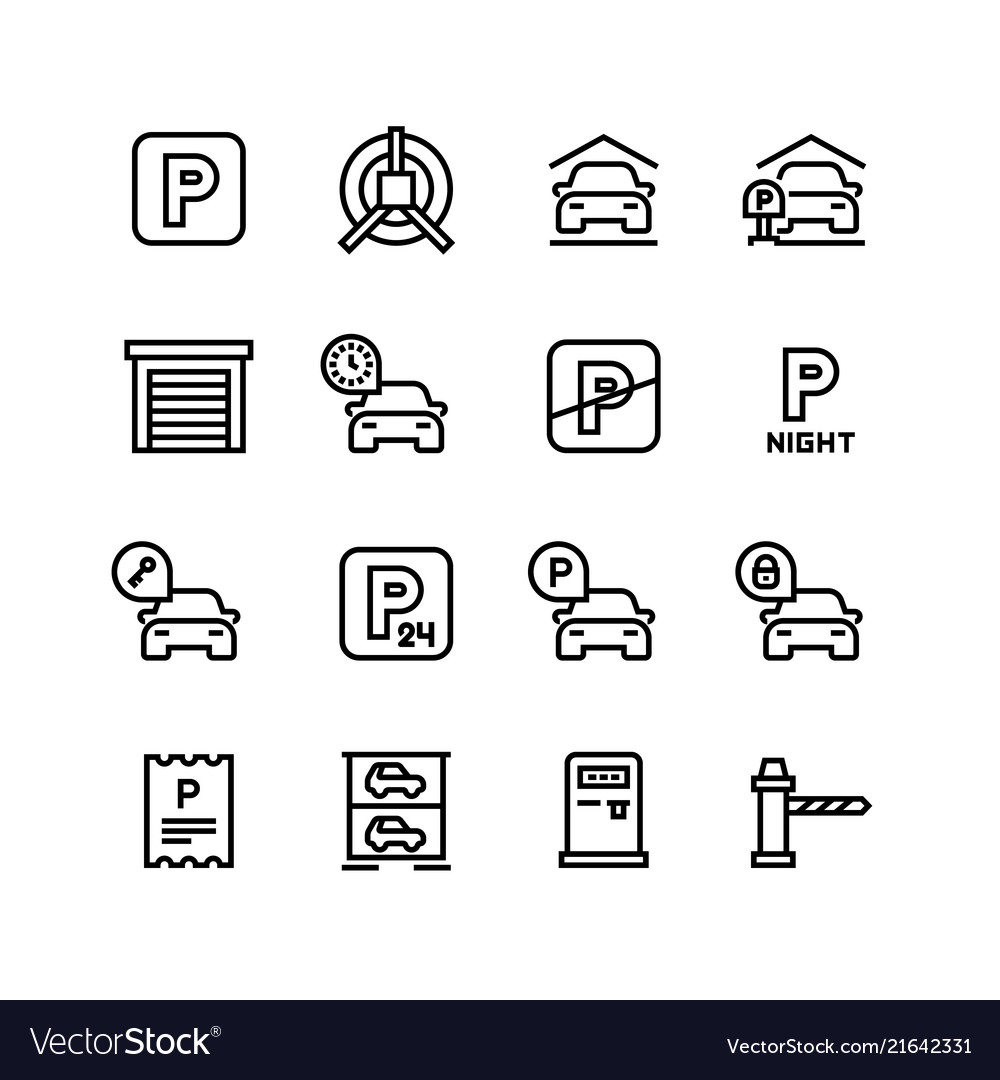 Parking icons car garage and line