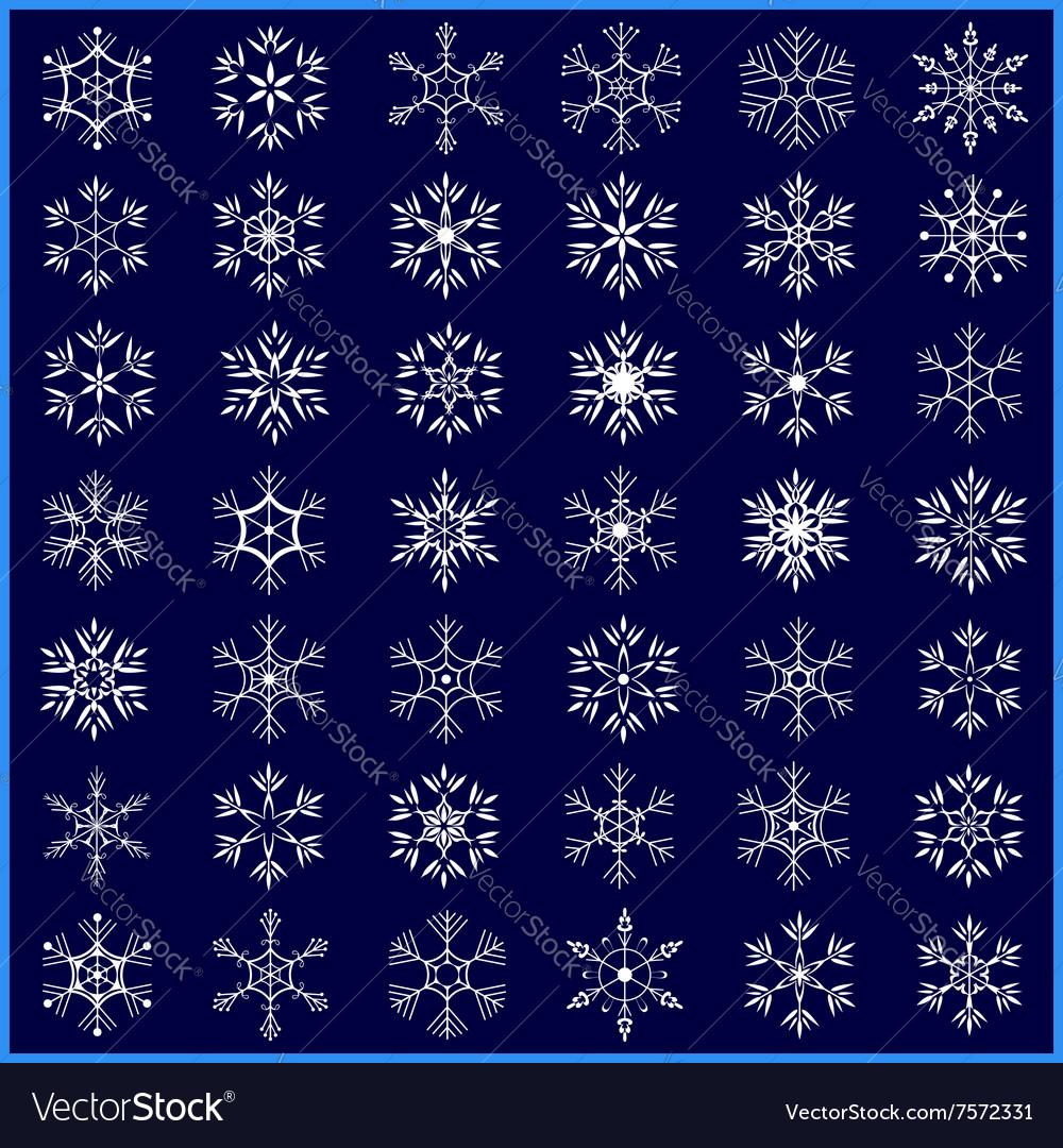 Set of decorative winter snowflakes