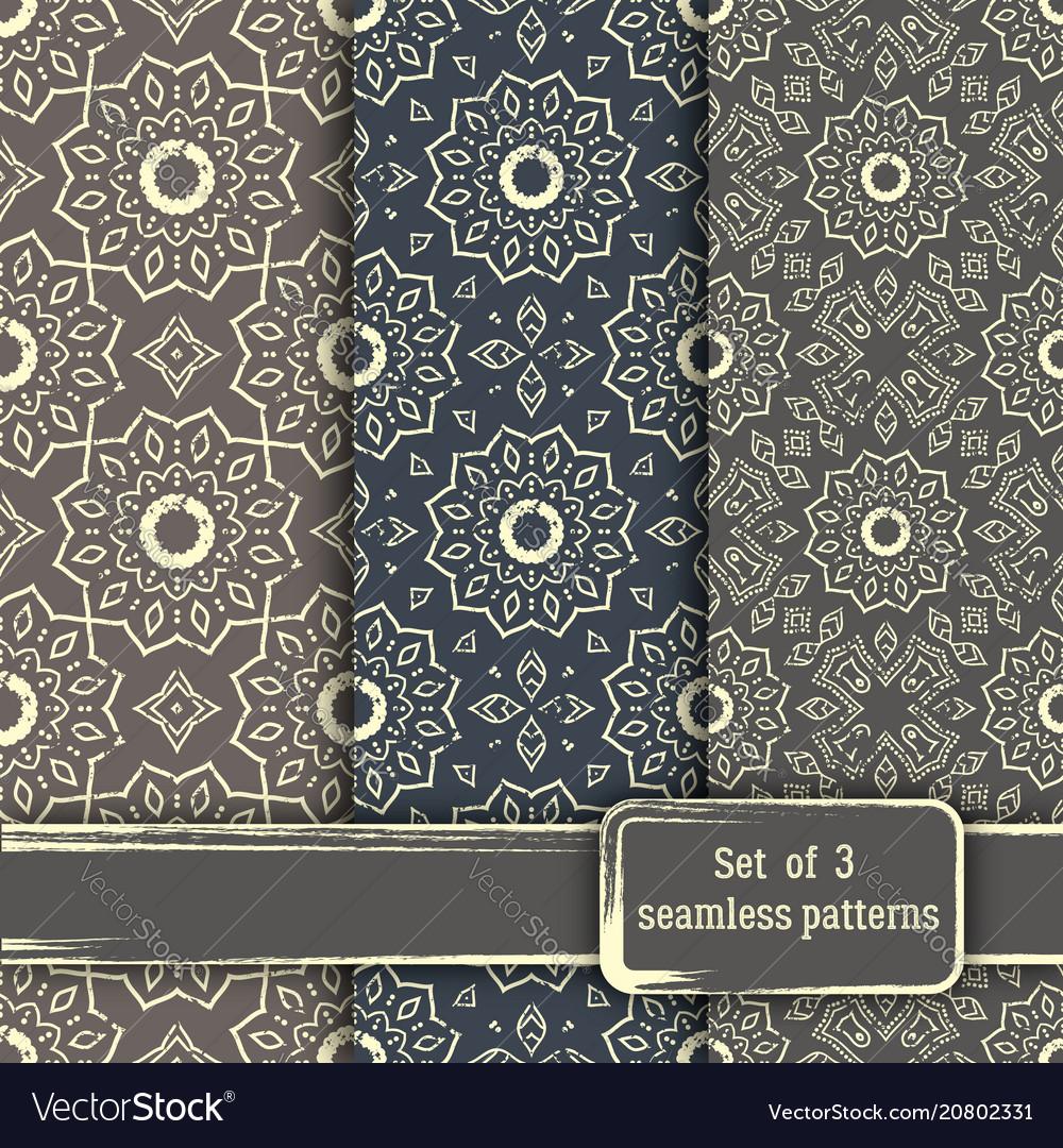 Set of seamless hand drawn mandala patterns vector image